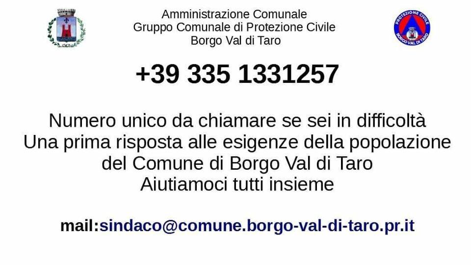 L'amministrazione comunale di Borgo Val di Taro, in accordo con il Gruppo comunale di Protezione civile, ha istituito un numero unico di telefono.