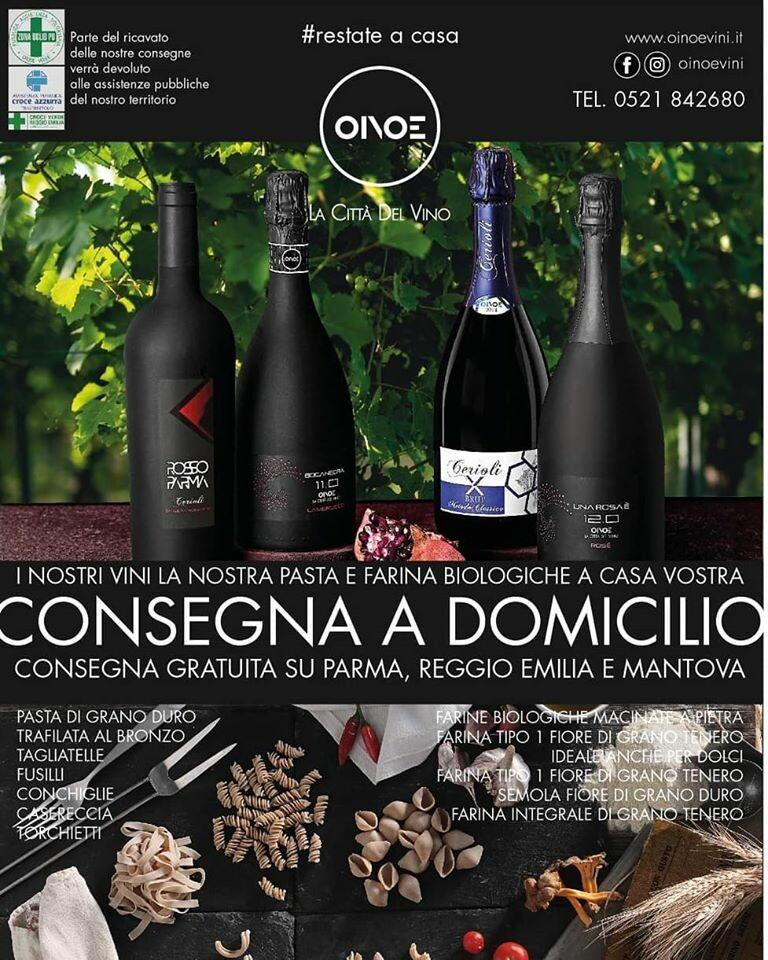 Oinoe consegna a Parma, Reggio Emilia e Mantova i suoi vini e le sue farine e...