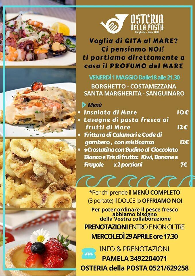 L'Osteria della Posta a Borghetto vi porta a casa vostra la cena del 1° maggio a base di pesce