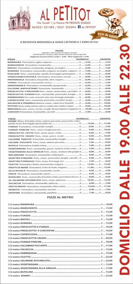 La pizza del Petitot su prenotazione è anche d'asporto