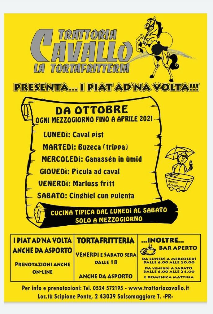 """La Trattoria Cavallo presenta """"I PIAT AD NA'  VOLTA"""" D'ASPORTO SOLO SU PRENOTAZIONE"""