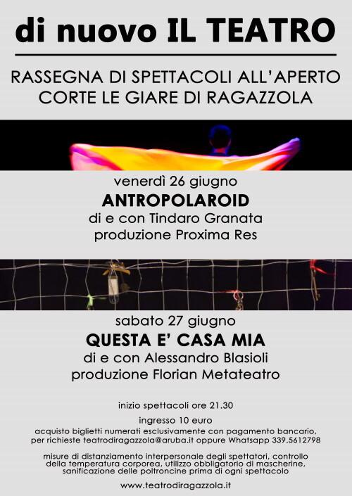 Di nuovo IL TEATRO - rassegna di spettacoli all'aperto alla Corte Le giare di Ragazzola