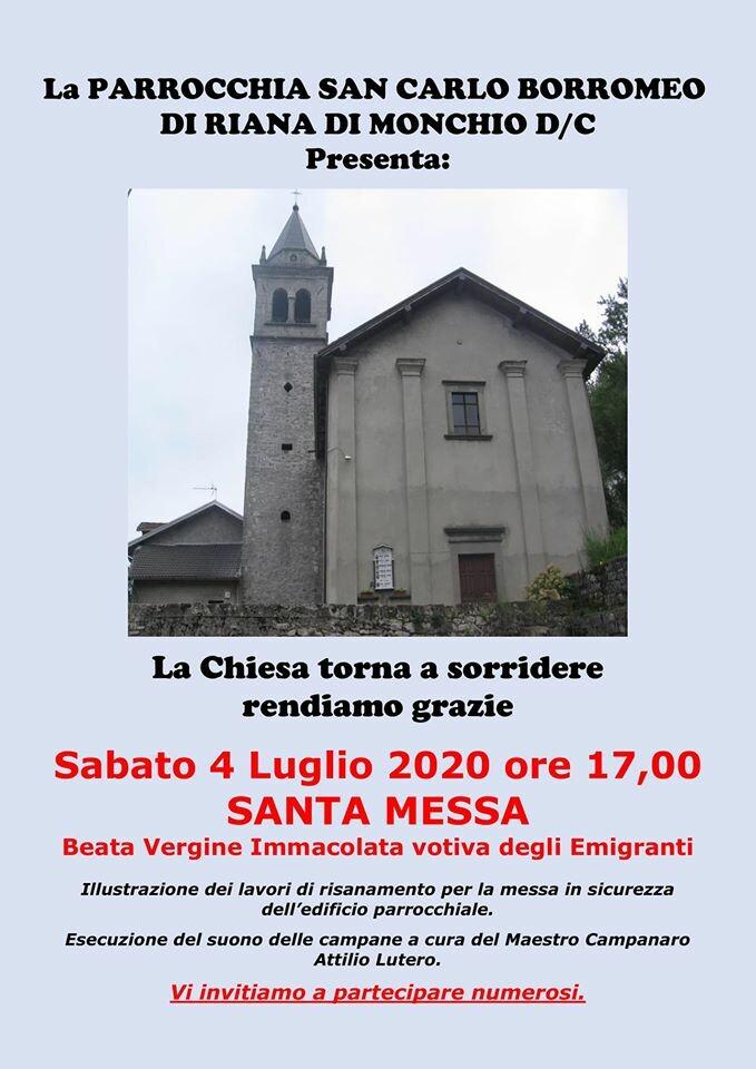"""A Riana di  Monchio """"La Chiesa torna a sorridere""""..."""