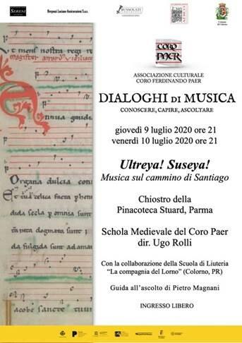 Dialoghi di Musica 2020:concerto della Schola Medievale del Coro Paer di Colorno.