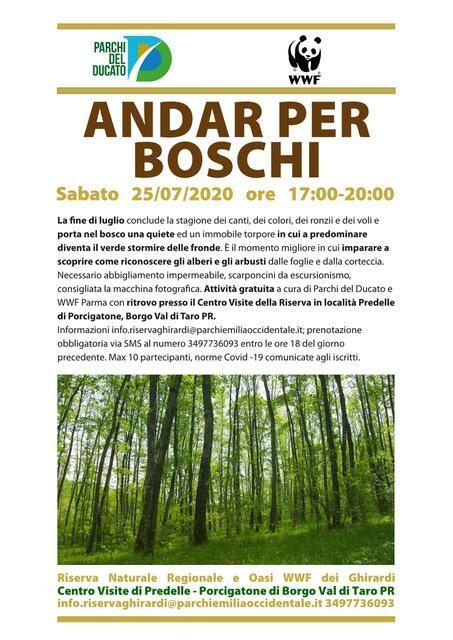 ANDAR PER BOSCHI    Visita guidata naturalistica  all'oasi dei Ghirardi