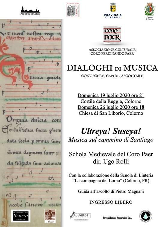 Dialoghi di Musica 2020: concerto della Schola Medievale del Coro Paer di Colorno .Ultreya! Suseya! Musica sul cammino di Santiago