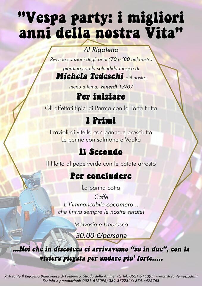 Vespa party con la musica di Michela Tedeschi al Rigoletto