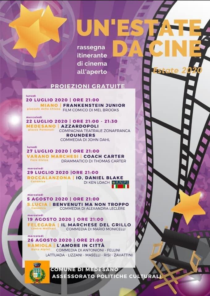 UN'ESTATE DA CINE rassegna itinerante di cinema all'aperto nel comune di Medesano