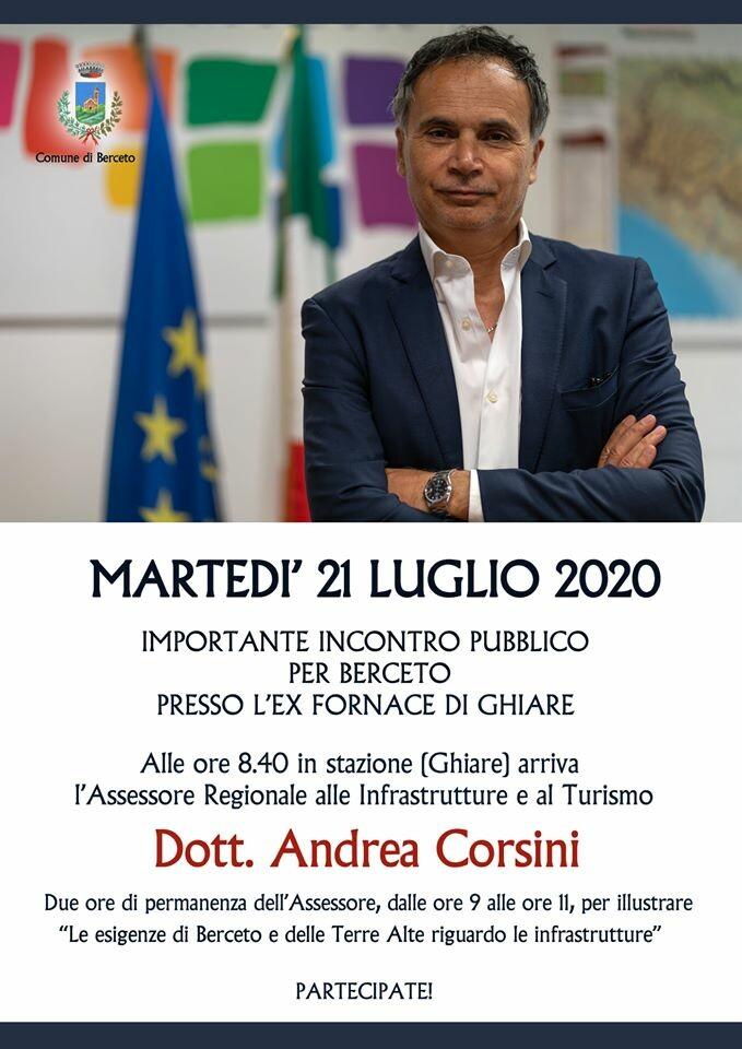 INCONTRO IMPORTANTE PER LE COMUNITA' DI BERCETO CON ANDREA CORSINI
