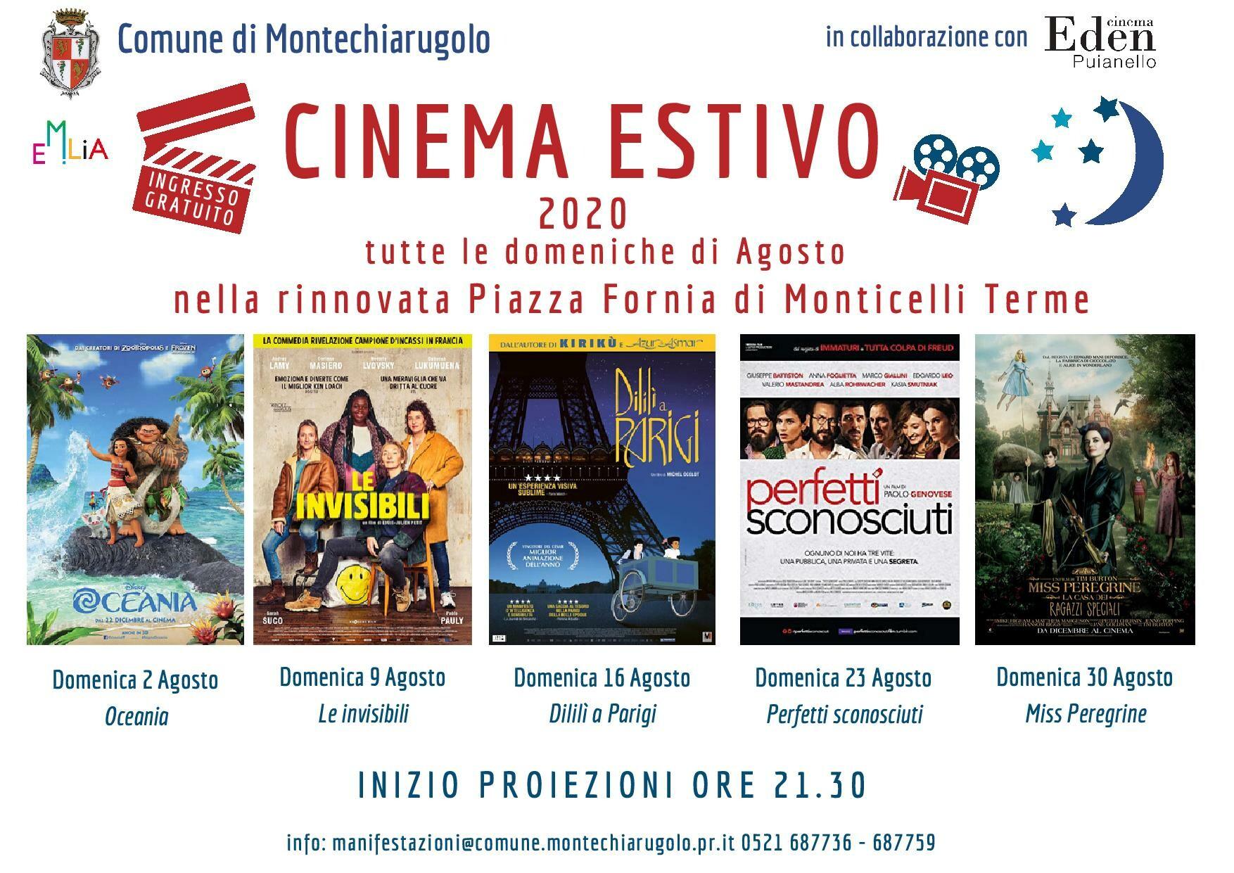 Cinema estivo in Piazza Fornia  a Monticelli Terme:  Oceania film di animazione Disney Oceania.
