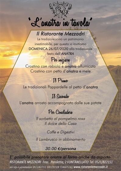 L'anatra in tavola al Ristorante MEZZADRI Paroletta di Fontanellato