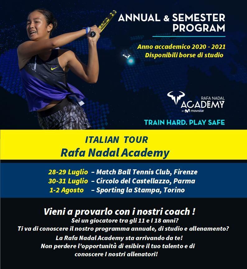La Rafa Nadal Academy al Circolo del Castellazzo per presentare il percorso accademico di scuola e tennis