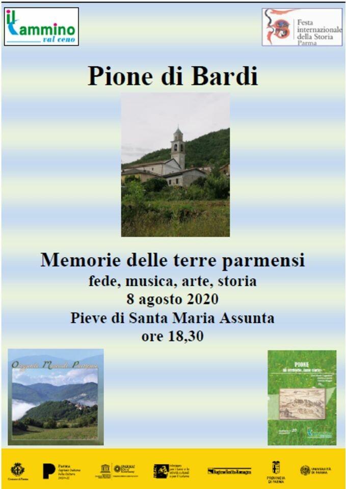 ll Cammino Valceno organizza a Pione di Bardi: Memorie delle terre parmensi. Fede, musica, arte e storia.