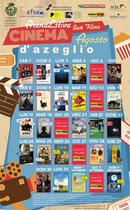 Programma agosto dell 'ARENA ESTIVA D'AZEGLIO-PARMA