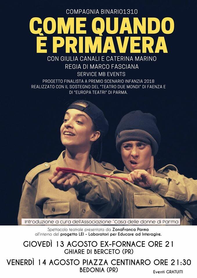 """""""Come quando è primavera"""" Spettacolo Teatrale  a Bedonia"""