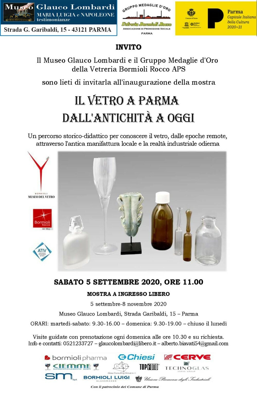 Il vetro a Parma dall'antichità ad oggi  la mostra proposta dal Gruppo Medaglie d'Oro Vetreria Bormioli Rocco