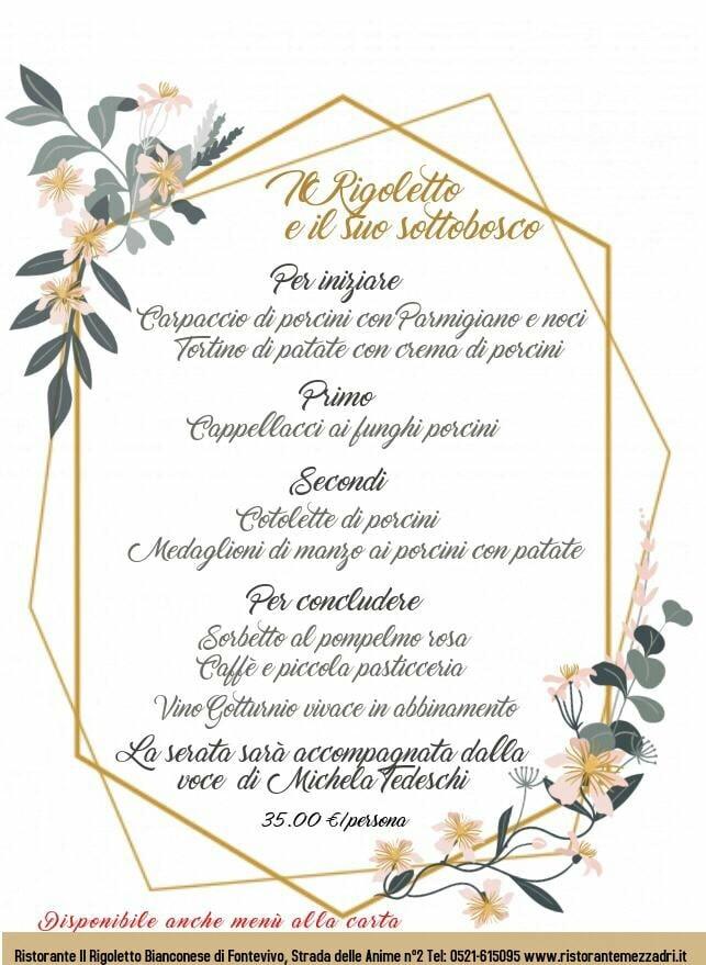 Il Rigoletto e il suo sottobosco; cena a base di funghi e musica con Michela tedeschi