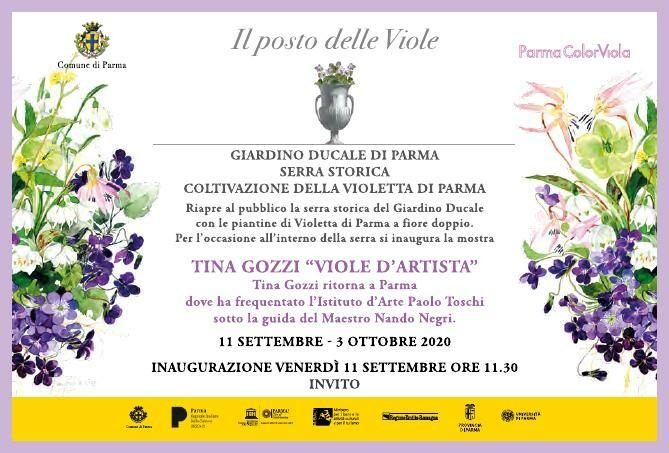 """""""Tina Gozzi, viole d'artista"""" in mostra alla serra storica del Giardino ducale."""