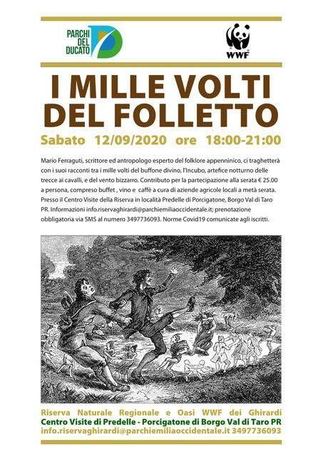I MILLE VOLTI DEL FOLLETTO  ne parlerà Mario Ferraguti, scrittore ed antropologo esperto del folklore appenninico