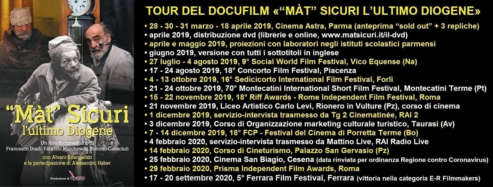 """""""Màt Sicuri, L'ultimo Diogene"""" premiato al Ferrara Film Festival"""