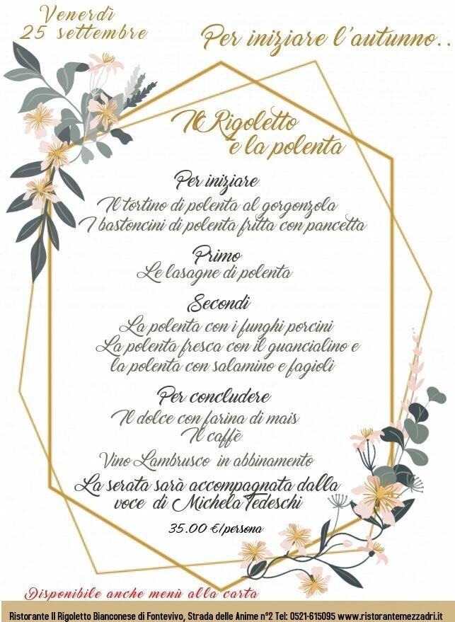 Serata a tema polenta al Rigoletto con la musica di Michela Tedeschi