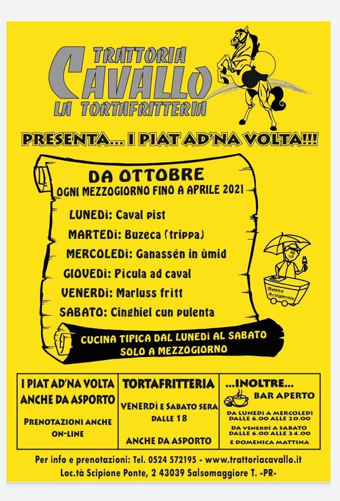 """Trattoria Cavallo """" la tortafritteria"""" presenta I PIAT AD NA' VOLTA"""