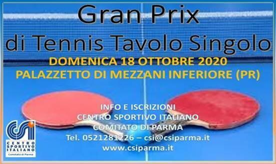 1^ prova Gran Prix tennis tavolo singolo