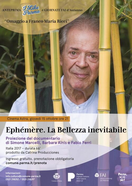 """Omaggio a Franco Maria Ricci,  proiezione del documentario """"Ephémère. La Bellezza inevitabile"""""""