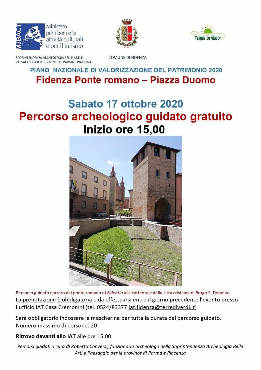 PIANO  NAZIONALE DI VALORIZZAZIONE DEL PATRIMONIO 2020 - Percorso guidato all'area archeologica di Fidenza