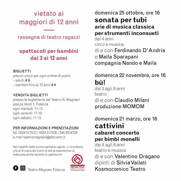 𝗩𝗜𝗘𝗧𝗔𝗧𝗢 𝗔𝗜 𝗠𝗔𝗚𝗚𝗜𝗢𝗥𝗜 𝗗𝗜 𝟭𝟮 𝗔𝗡𝗡𝗜‼️ al Teatro Magnani Fidenza