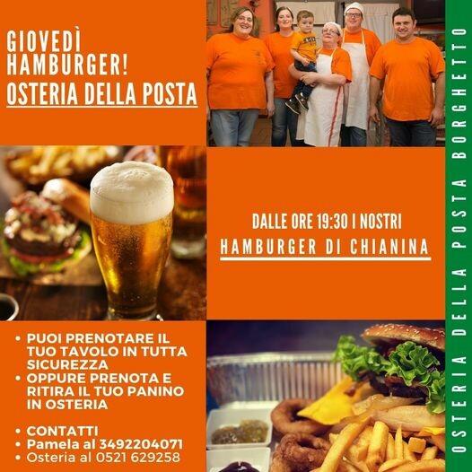 Osteria della Posta a Borghetto: al giovedì c'è l'hamburger  di chianina (anche d'asporto)