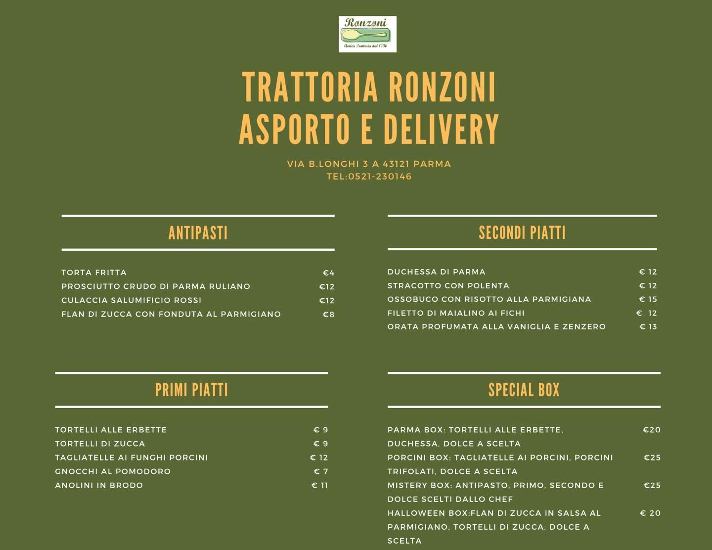Trattoria Ronzoni:  Asporto e Delivery