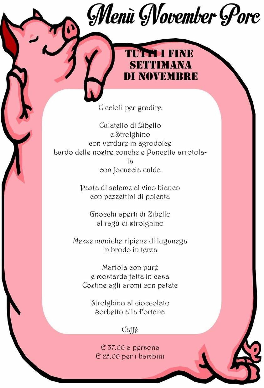 Trattoria Leon d'Oro menù November Porc