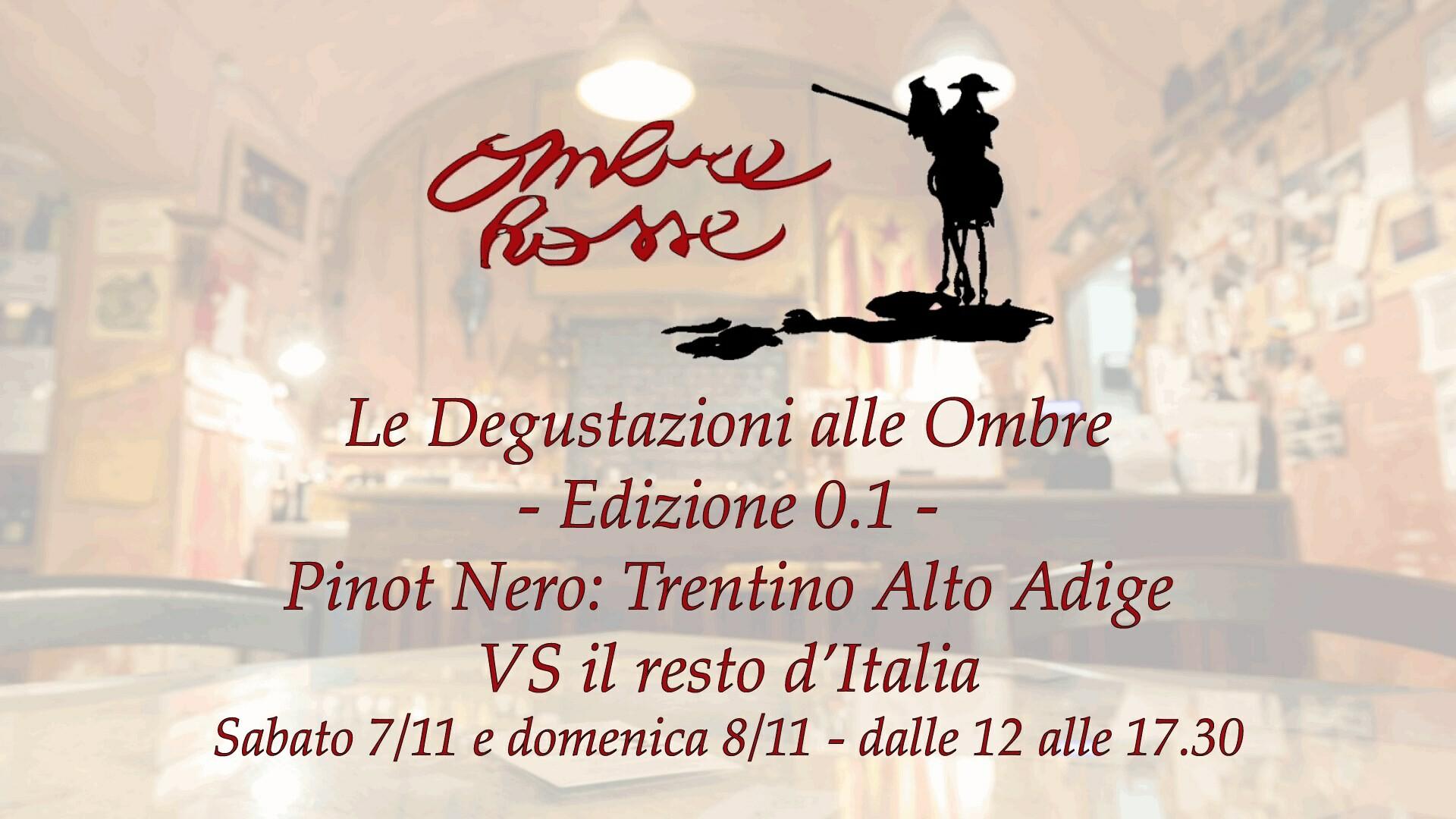 Le Degustazioni alle Ombre - Edizione 0.1 - Pinot Nero: Trentino Alto Adige VS il resto d'Italia