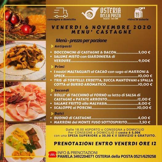 Osteria della Posta a Borghetto: menù di terra degustazione   CASTAGNE
