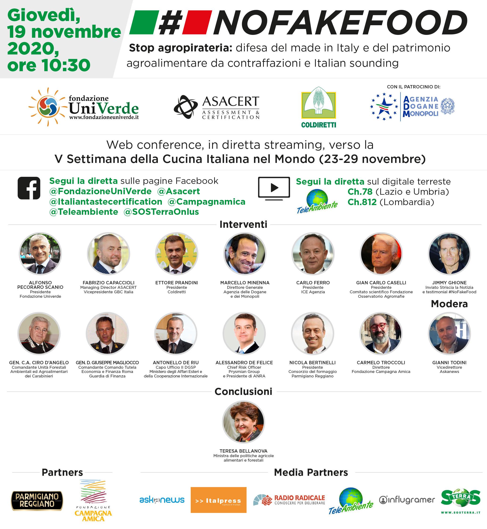 """""""#NoFakeFood. Stop agropirateria: difesa del made in Italy e del patrimonio agroalimentare da contraffazioni e Italian sounding"""": diretta streaming"""