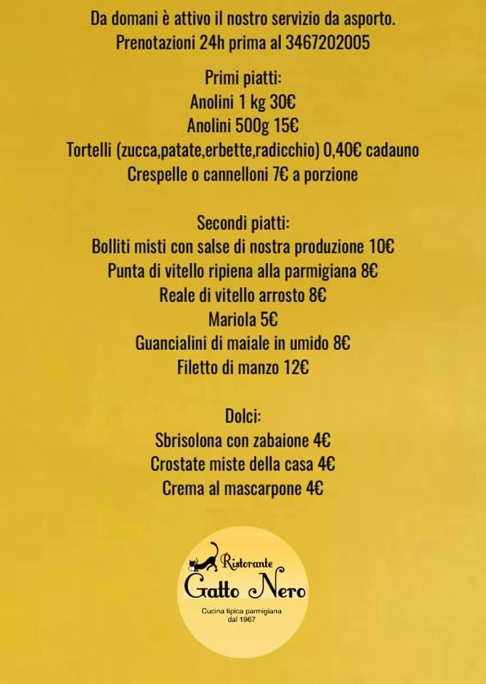Anolini e tortelli da cuocere da asporto del ristorante  Gatto nero
