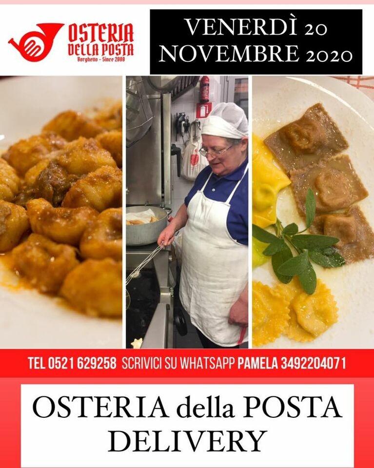 Menù CENA VENERDÌ 20 novembre 2020 da ASPORTO  o con CONSEGNA a DOMICILIO dell' Osteria della Posta a Borghetto