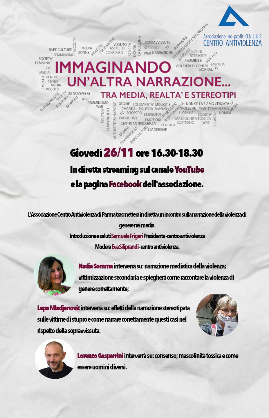 Immaginando un'altra narrazione, evento online del Centro antiviolenza d Parma