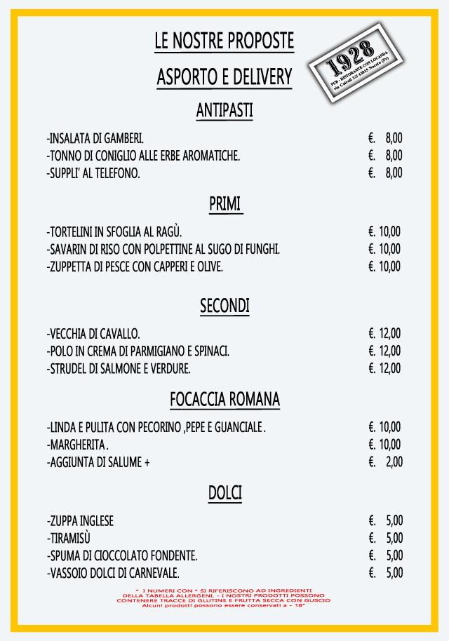 Pub Gourmet 19.28 Ristorante: il menù d'asporto o a domicilio