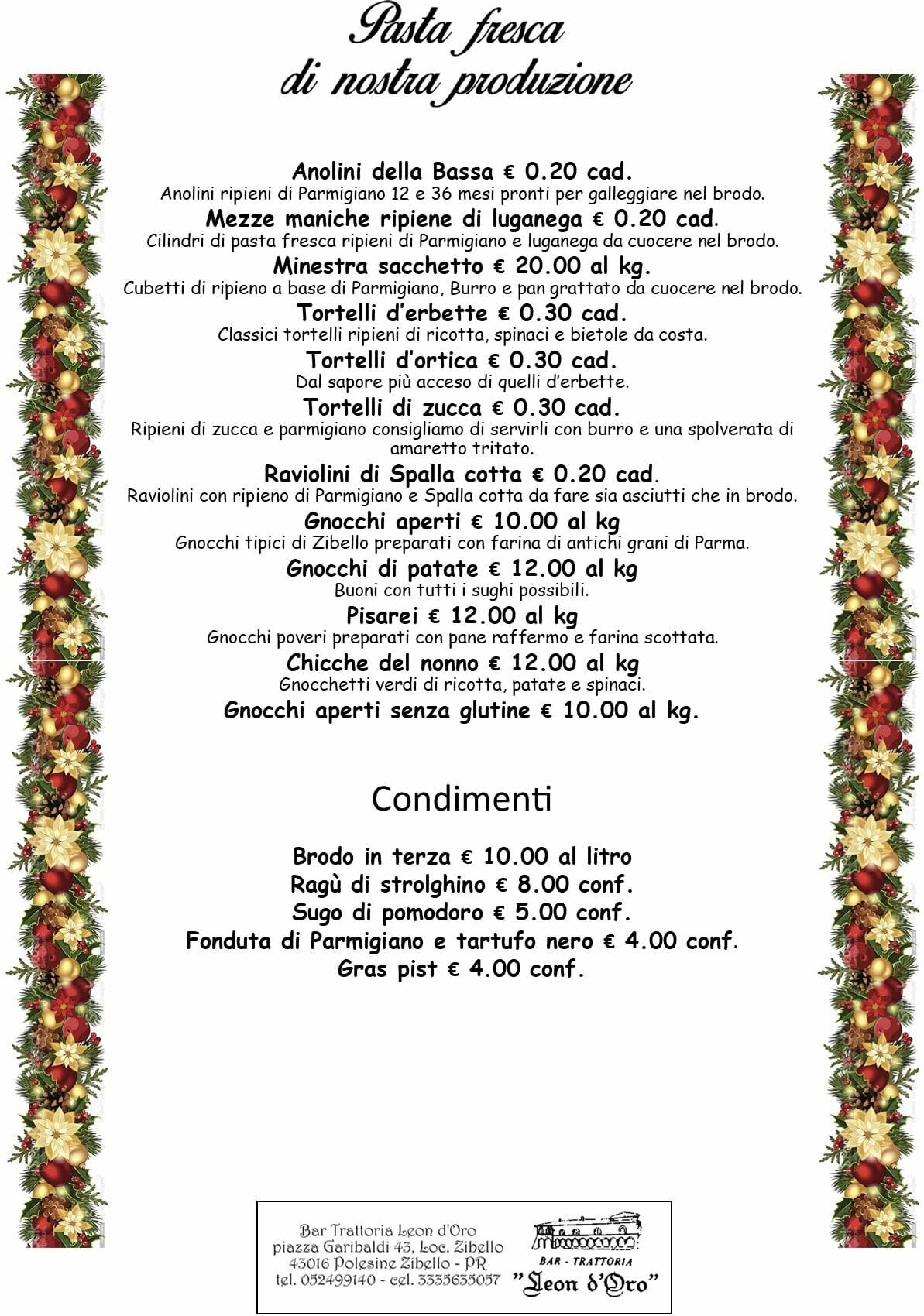 Le paste fresche da cuocere d'asporto della trattoria Leon D'oro