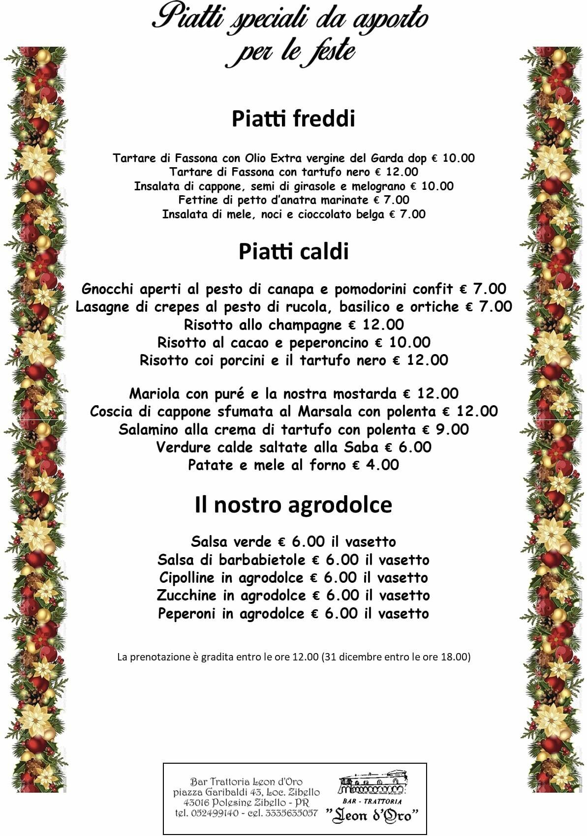 Piatti speciali per le feste d'asporto della trattoria Leon D'oro
