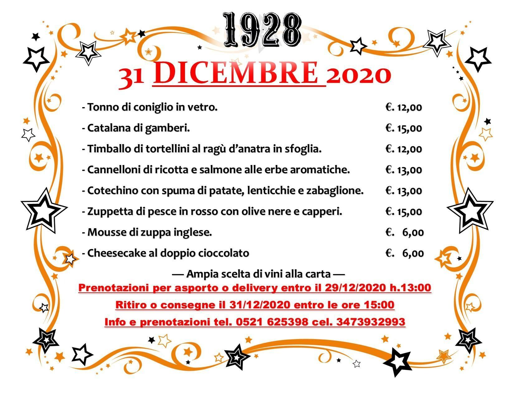 San Silvestro con i i piatti del Pub Gourmet 19.28 Ristorante.
