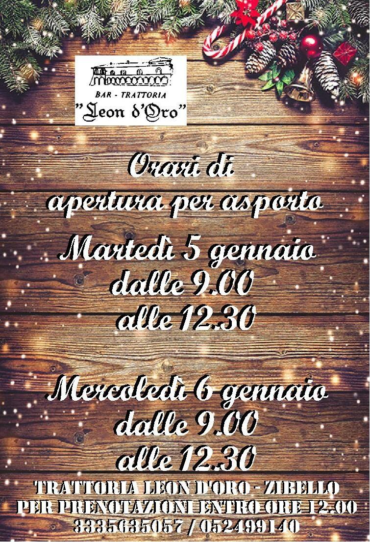 Il menù d'asporto della trattoria Leon D'oro per il 5 e 6 gennaio