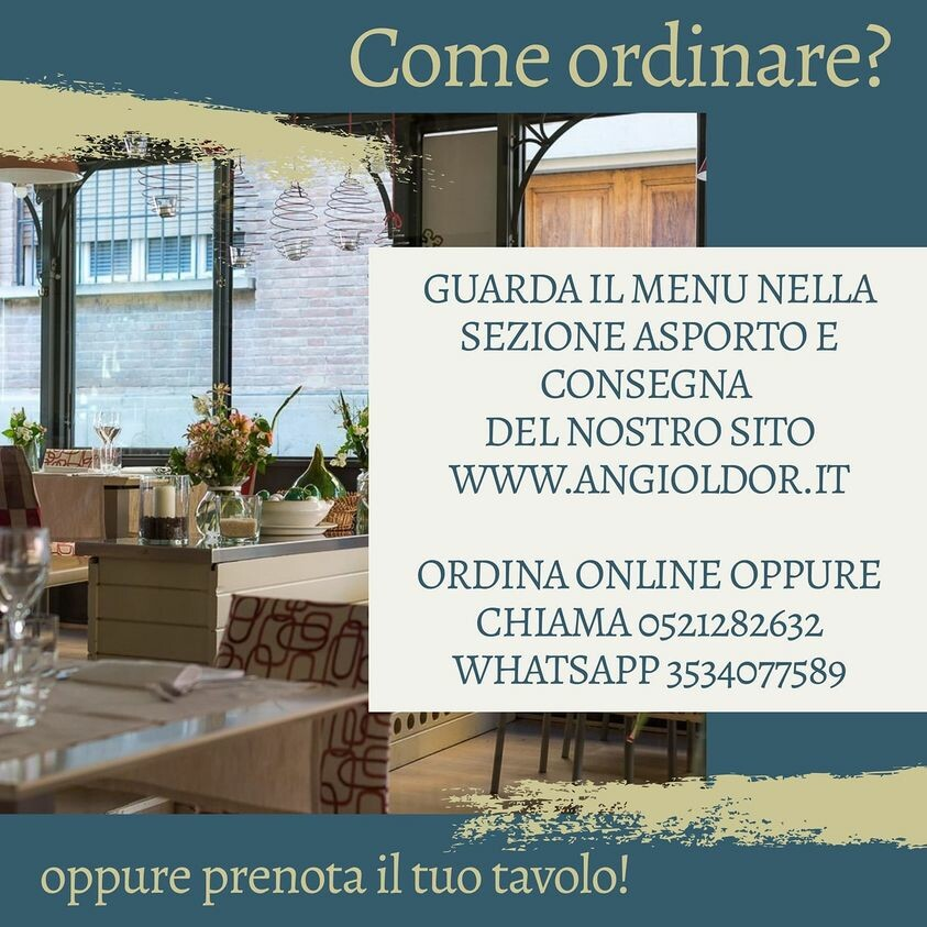 Il ristorante Angiol d'Oro ora è anche d'asporto e  consegna a domicilio i suoi piatti