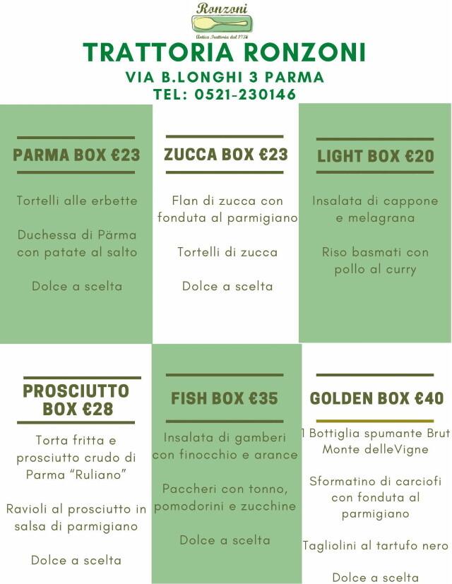 Trattoria Ronzoni:  Asporto e Delivery: scegli la tua box preferita
