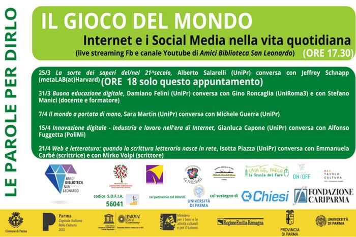 """Il gioco del mondo: Internet e i Social Media nella vita quotidiana""""  promossa dall'Associazione Amici della Biblioteca San Leonardo."""