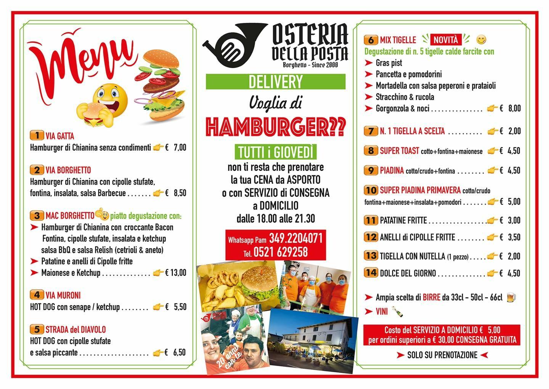 Serata Hamburger all'Osteria della Posta a Borghetto