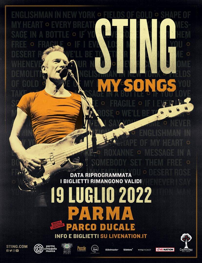 STING: IL CONCERTO A PARMA È RIPROGRAMMATO IL 19 LUGLIO 2022 @PARCO DUCALE