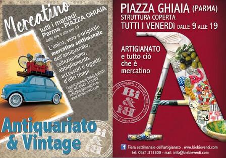 Mercatino di antiquariato e vintage  e mercatino dell'artigiano in piazza Ghiaia